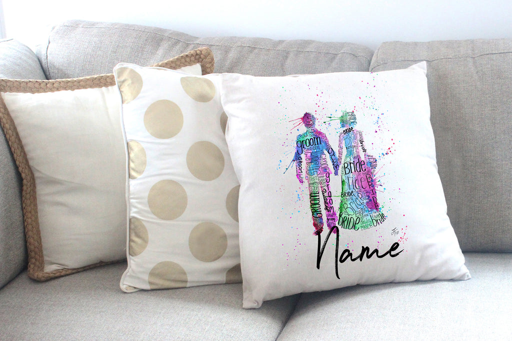 """Bride and Groom (Pink)"" Personalised Cushion Cover"