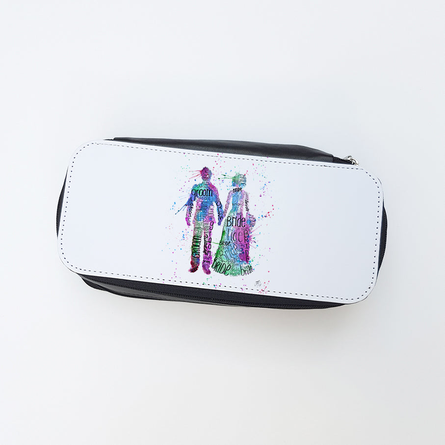 """Bride and Groom (Pink)"" Ladies Makeup Bag"
