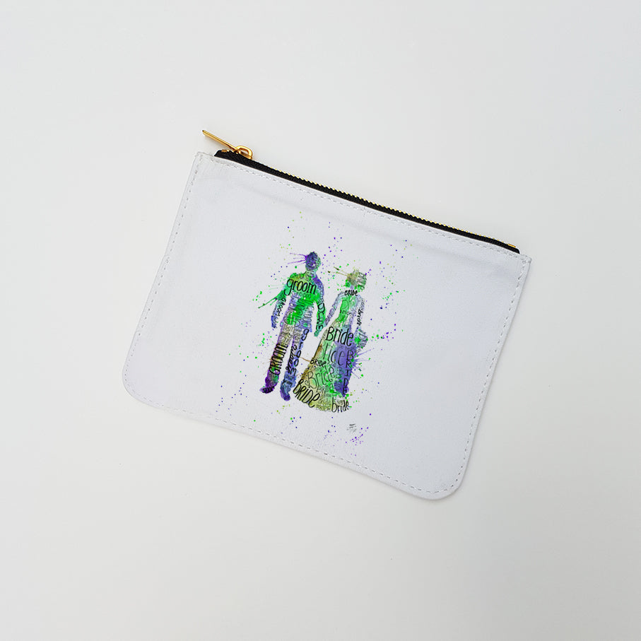 """Bride and Groom (Green)"" Large Coin Pouch"