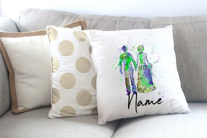 """Bride and Groom (Green)"" Personalised Cushion Cover"