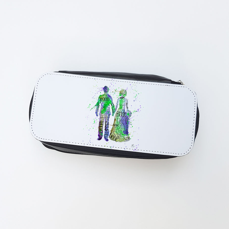 """Bride and Groom (Green)"" Ladies Makeup Bag"