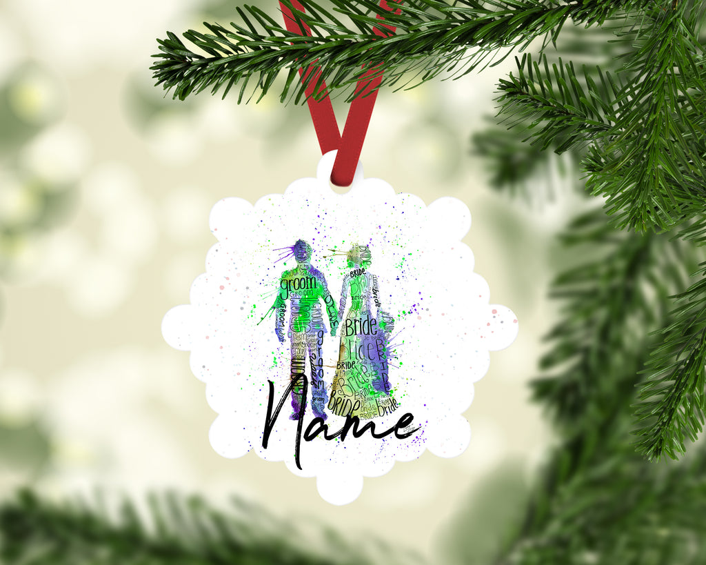 """Bride and Groom (Green)"" Personalised Aluminium Christmas Decoration"