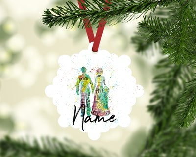 """Bride and Groom"" Personalised Aluminium Christmas Decoration"