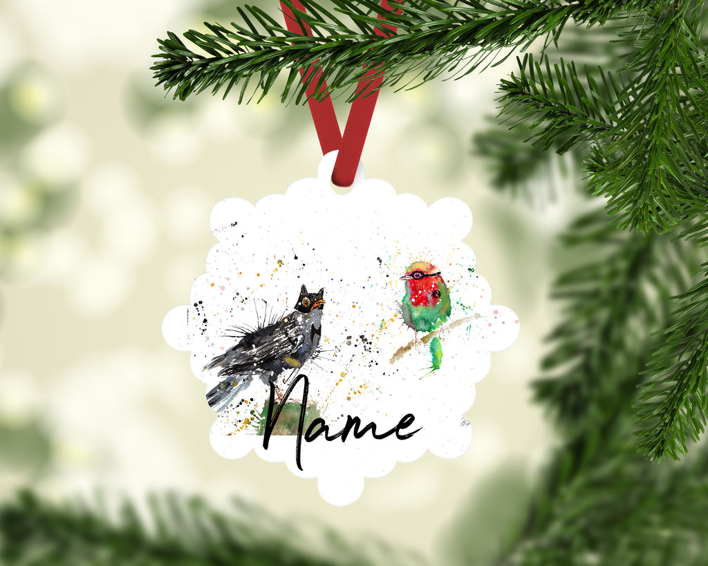"""Blackbird & Robin"" Personalised Aluminium Christmas Decoration"