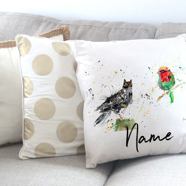 """Blackbird & Robin"" Personalised Cushion Cover"