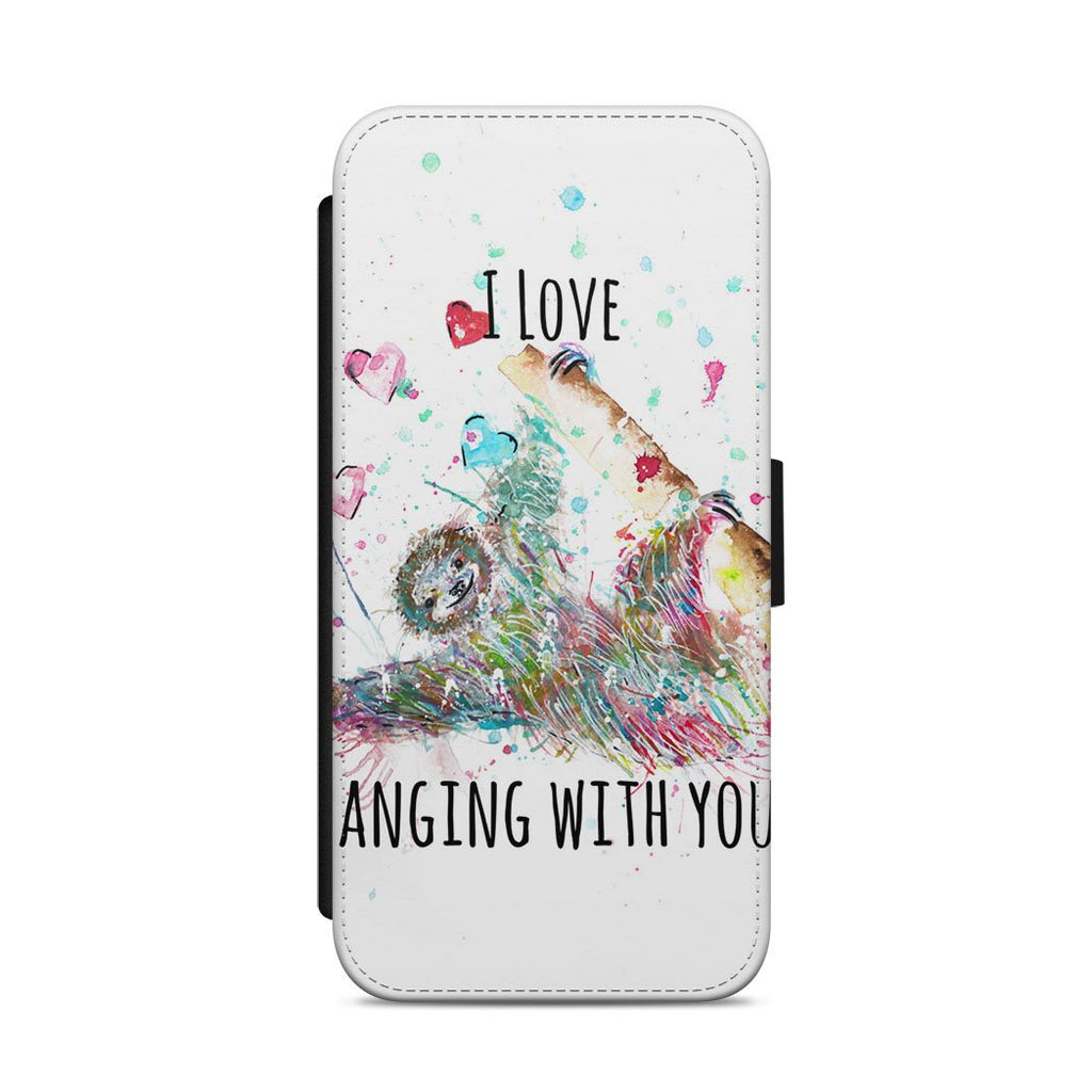 """I Love Hanging With You"" Sloth Flip Phone Case"