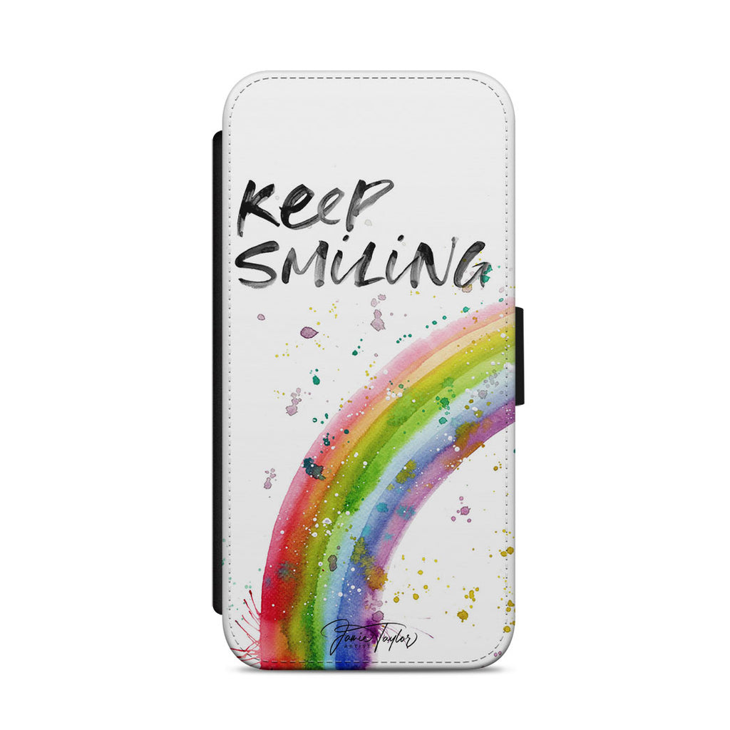 """Keep Smiling"" Rainbow Flip Phone Case"