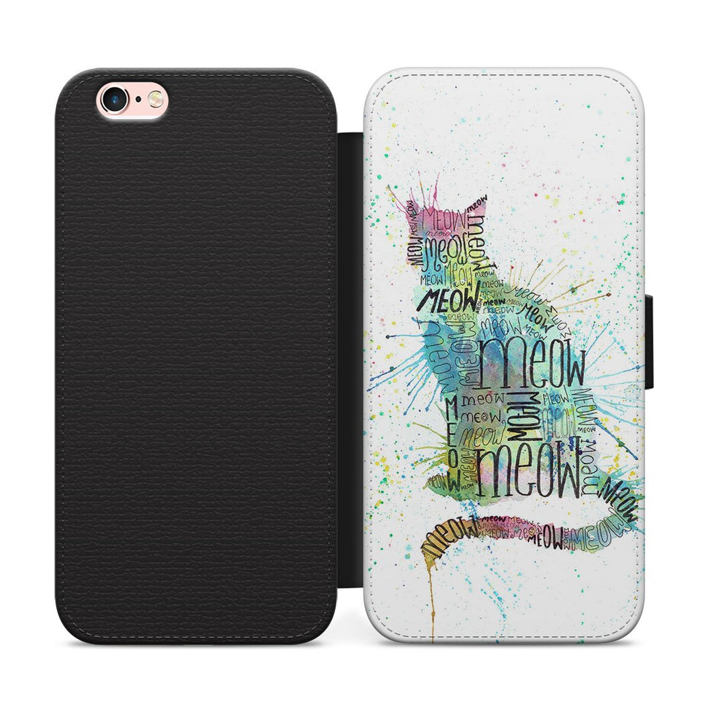 """Meow"" Blue Flip Phone Case"