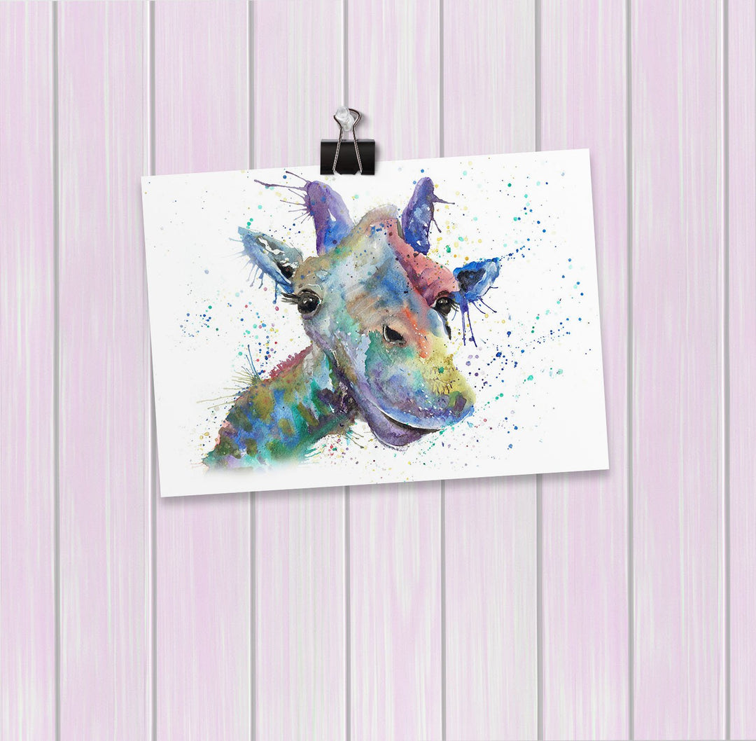 """Smile"" Giraffe Art Mini Print"