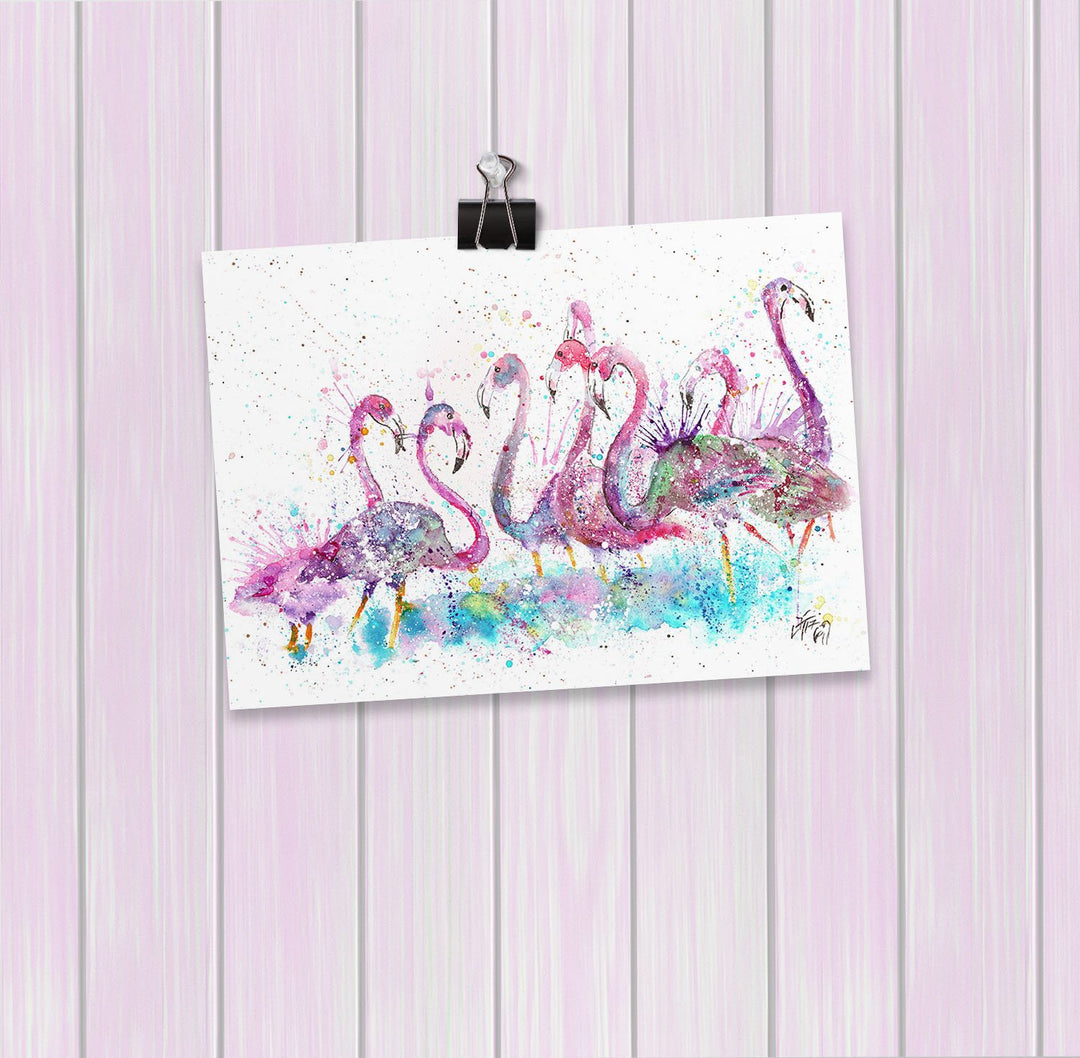 """Flamboyance"" Flamingos Art Mini Print"