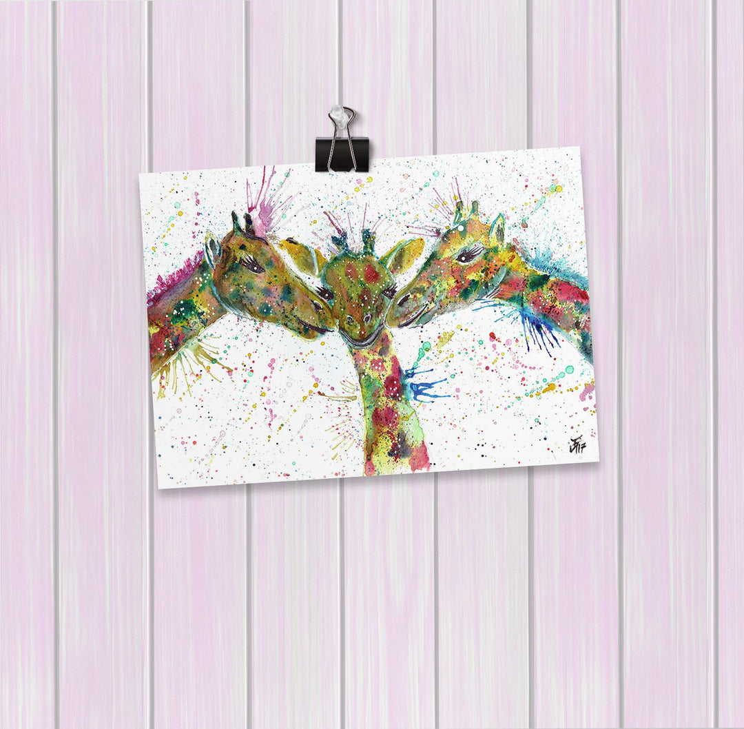 """Together"" Giraffes Art Mini Print"