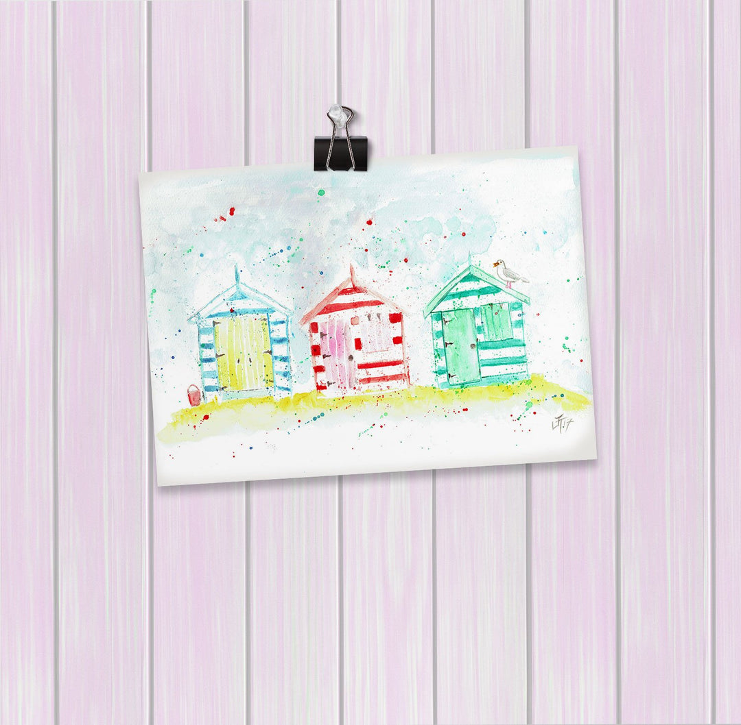 Beach Huts Art Mini Print