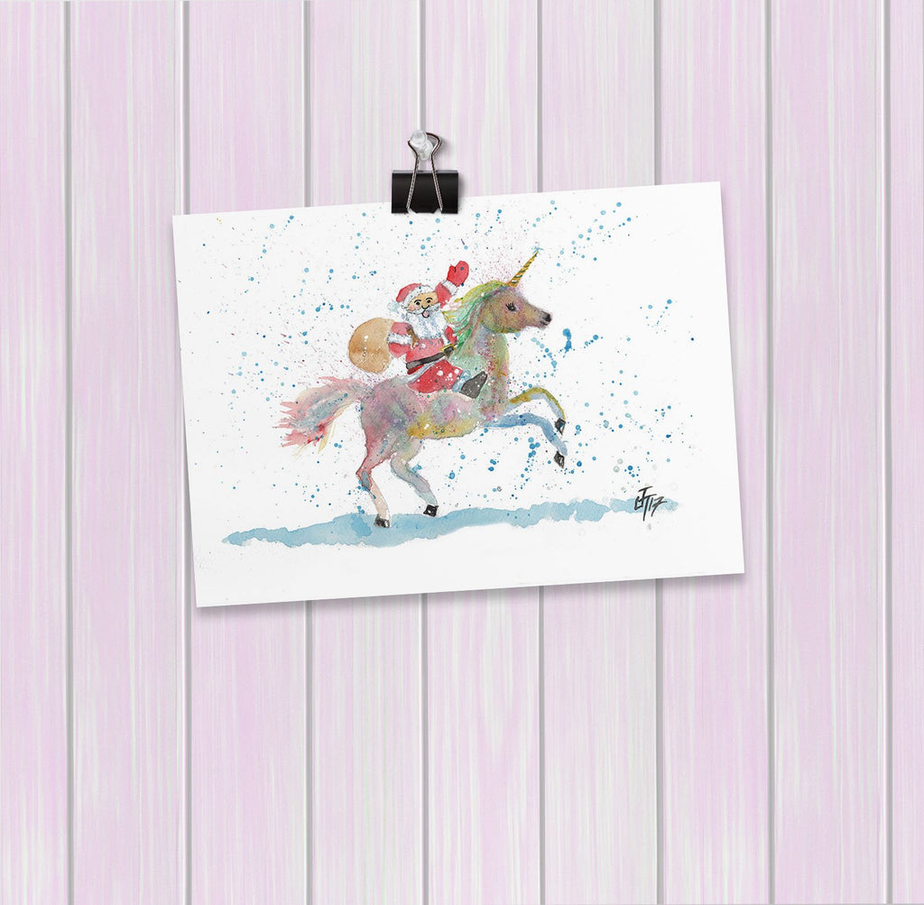 Santa Unicorn Art Mini Print