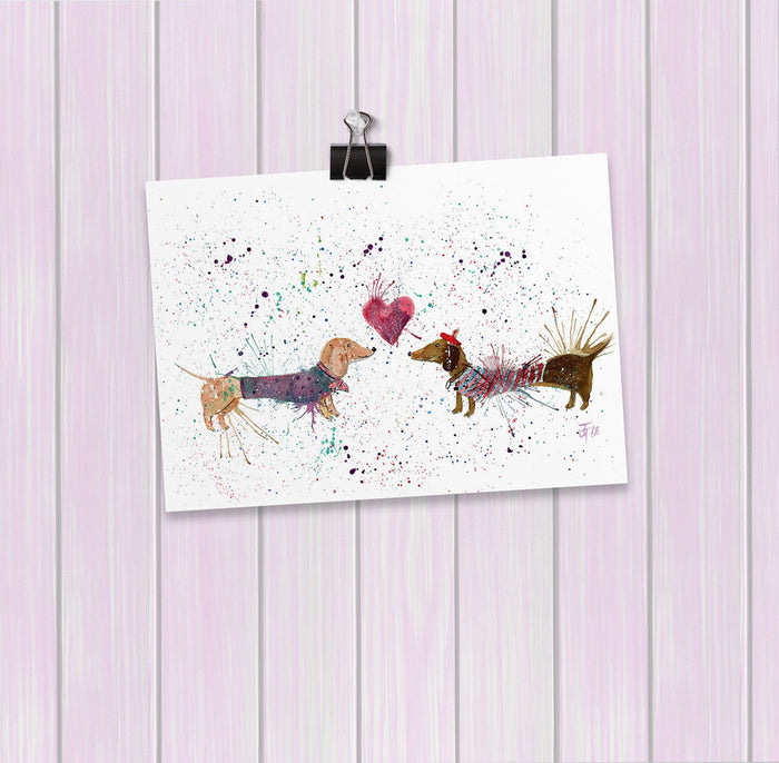 Sausage Dogs in Love Art Mini Print