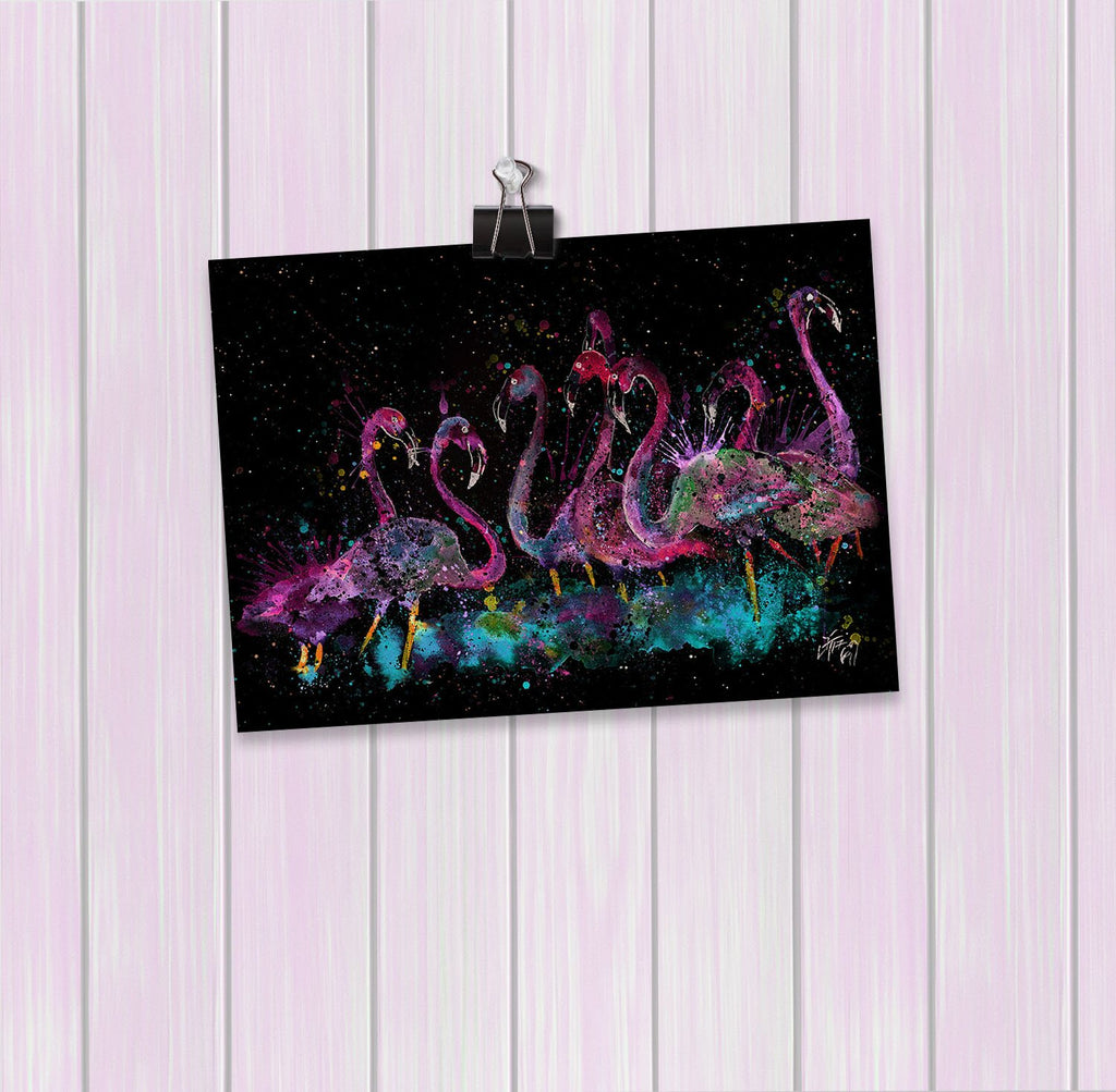"""Flamboyance"" Flamingos Enchanted Art Mini Print"