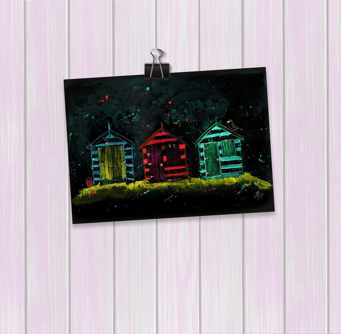 Beach Huts Enchanted Art Mini Print
