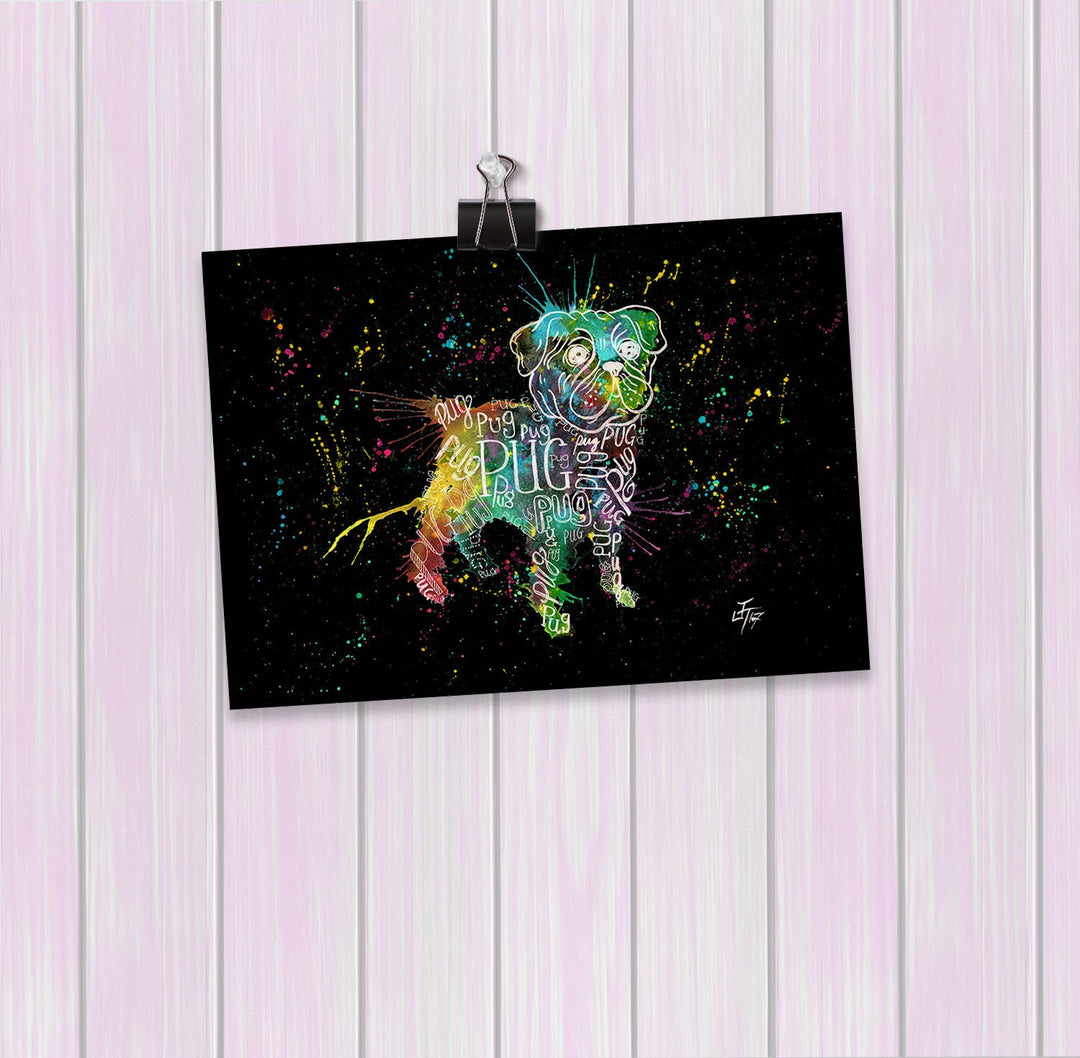 Pug Splash Enchanted Art Mini Print