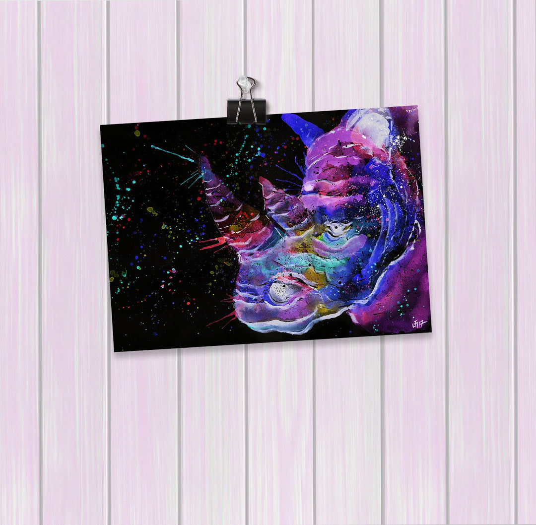 """Winston"" Rhino Enchanted Art Mini Print"
