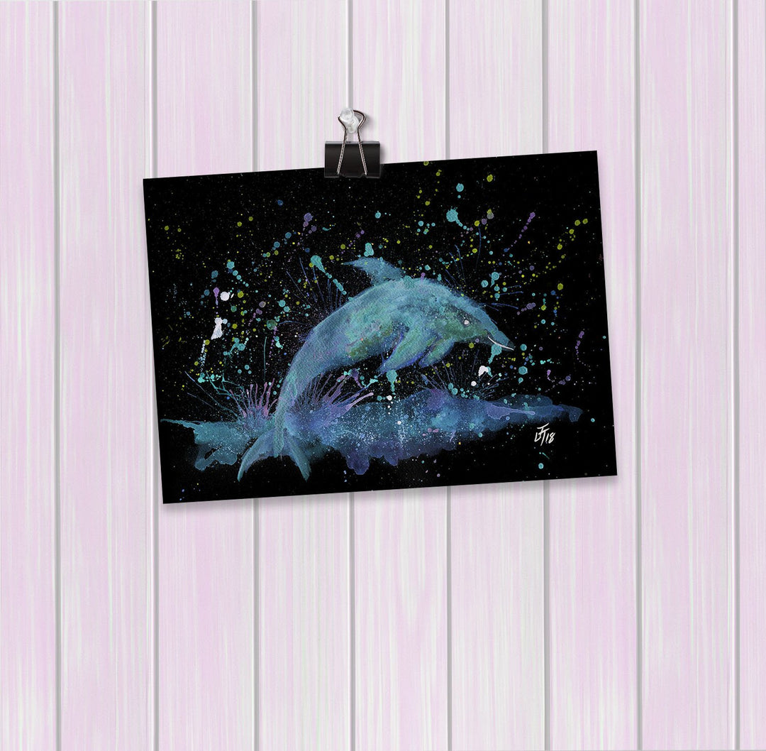 """Bottle"" Dolphin Enchanted Art Mini Print"