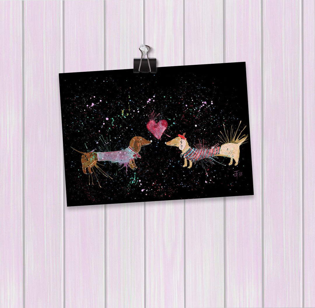 Sausage Dogs in Love Enchanted Art Mini Print