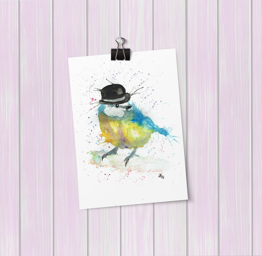 Bluetit Bowler Art Mini Print