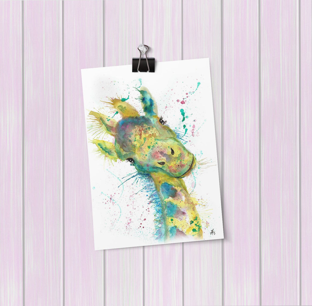 """Hattie"" Giraffe Art Mini Print"