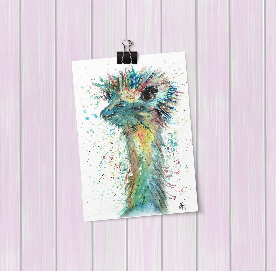 """Ethel"" Ostrich Art Mini Print"