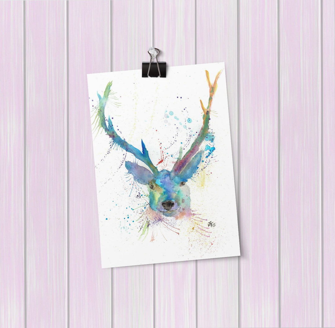 """Bruce"" Stag Art Mini Print"