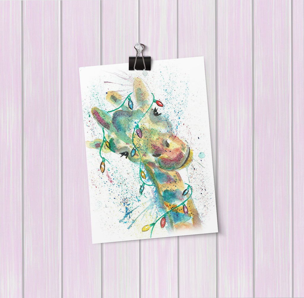 "Christmas ""Hattie"" Giraffe Art Mini Print"