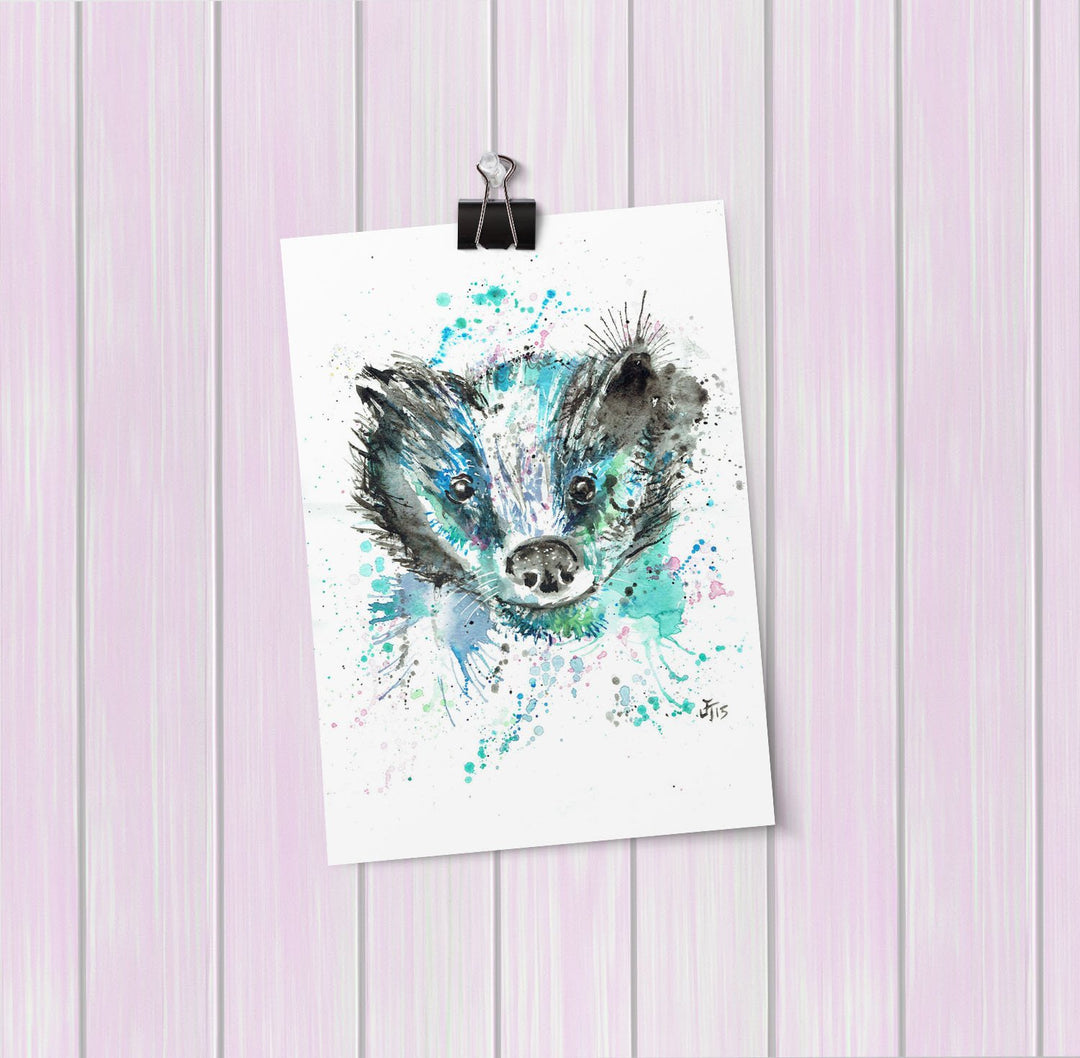 """Baz"" Badger Art Mini Print"