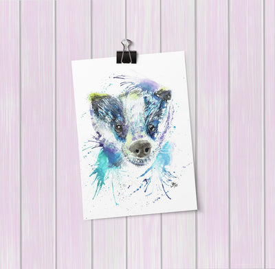 """Badge"" Badger Art Mini Print"