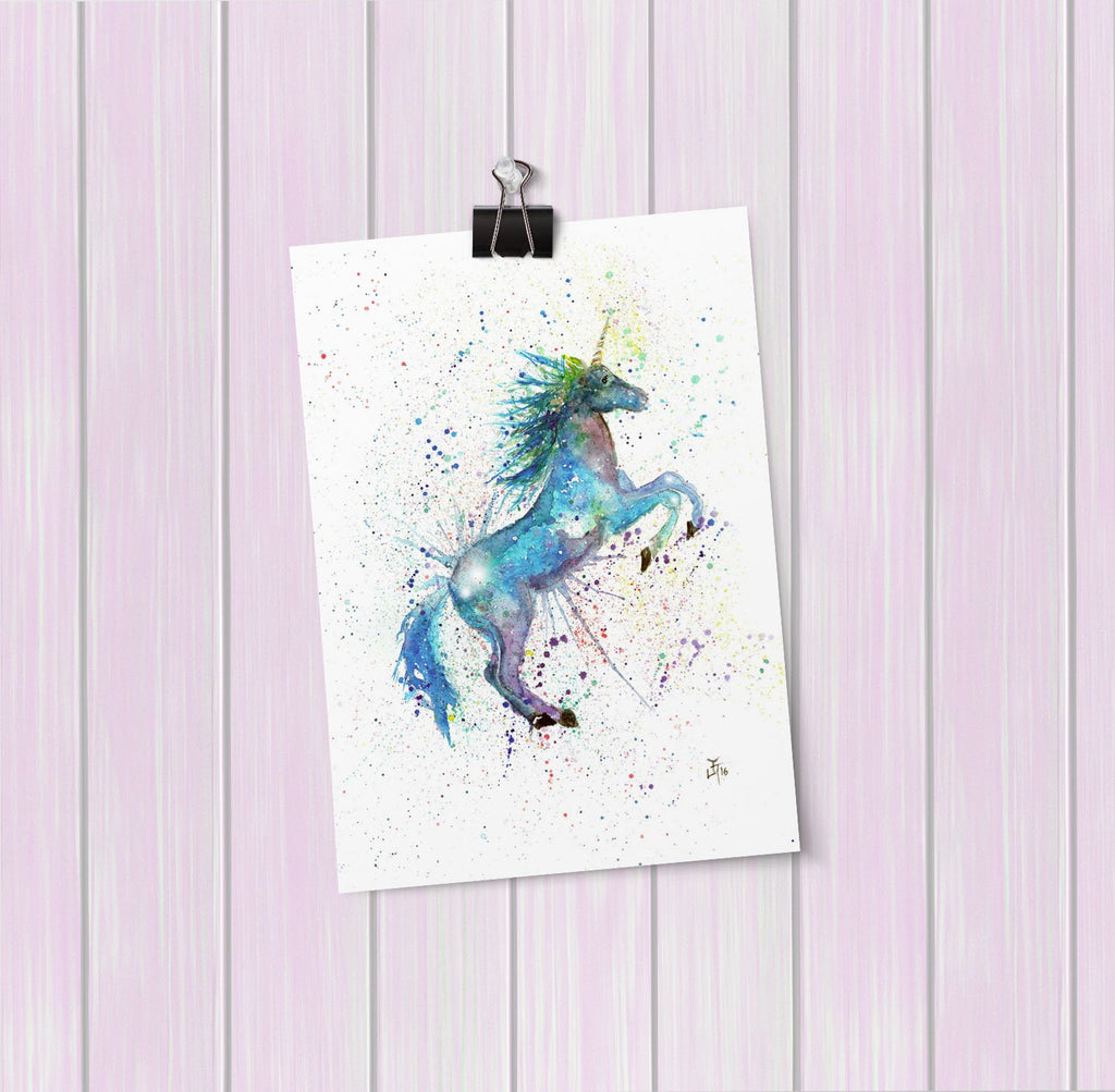 Blue Unicorn Art Mini Print
