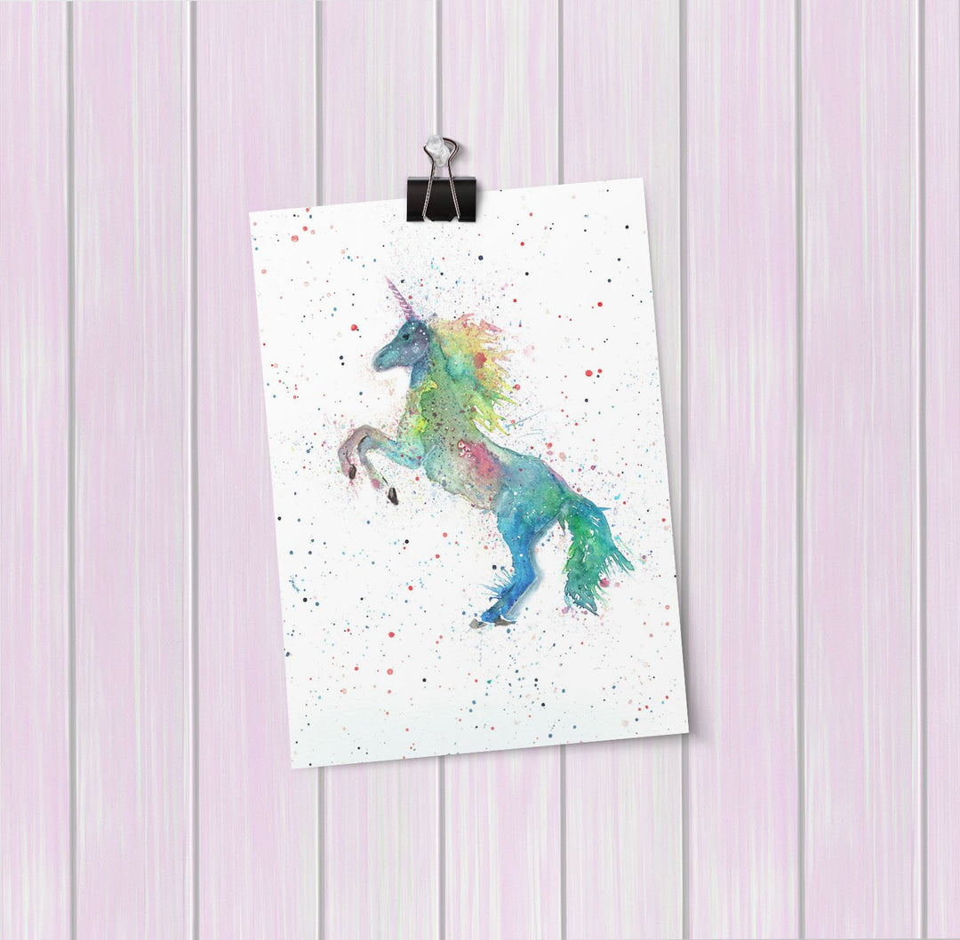 Rainbow Unicorn Art Mini Print