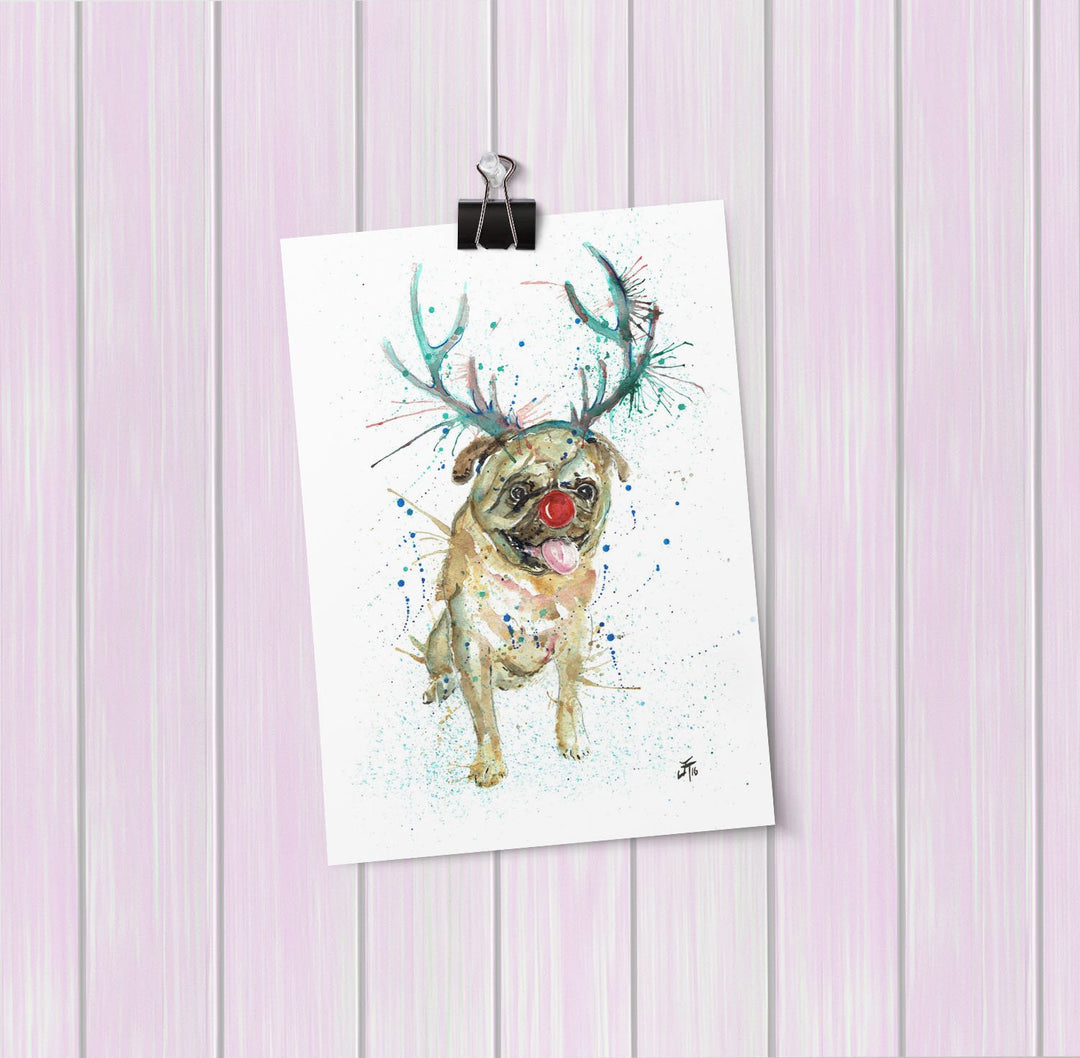 Christmas Pug Art Mini Print
