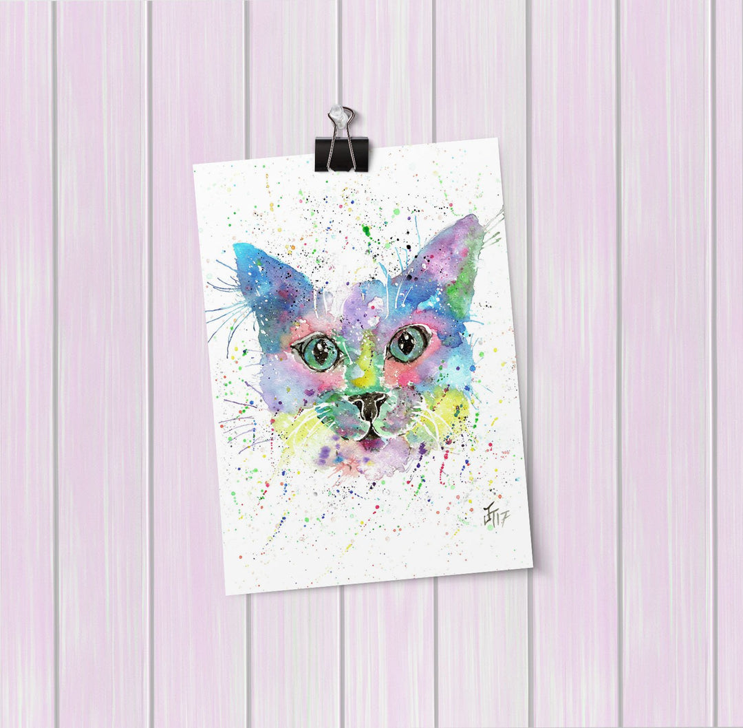 """Meep"" Cat Art Mini Print"