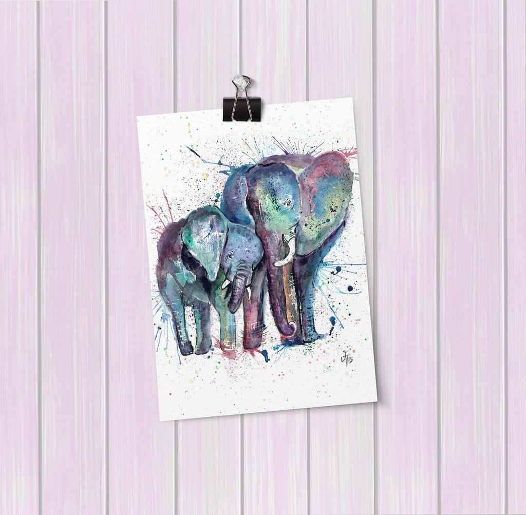 """Us"" Mummy & Babby Elephant Art Mini Print"