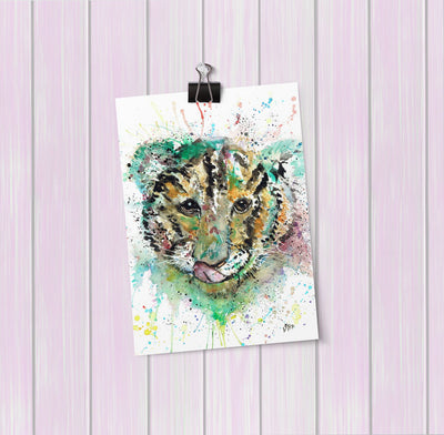 """Franklin"" Tiger Cub Face Art Mini Print"