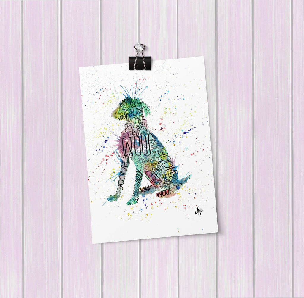 """Woof"" Blue Art Mini Print"