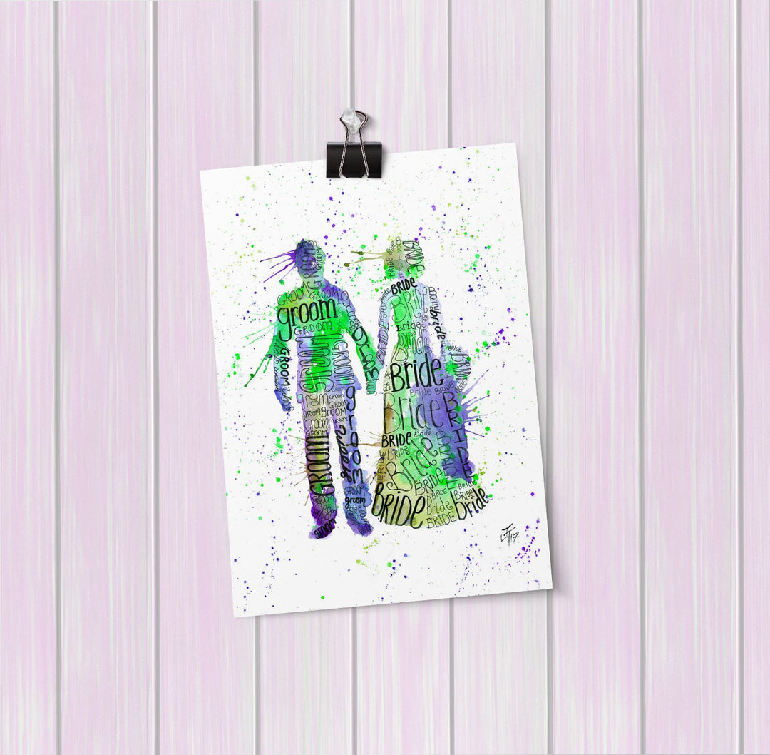Bride & Groom (Green) Art Mini Print