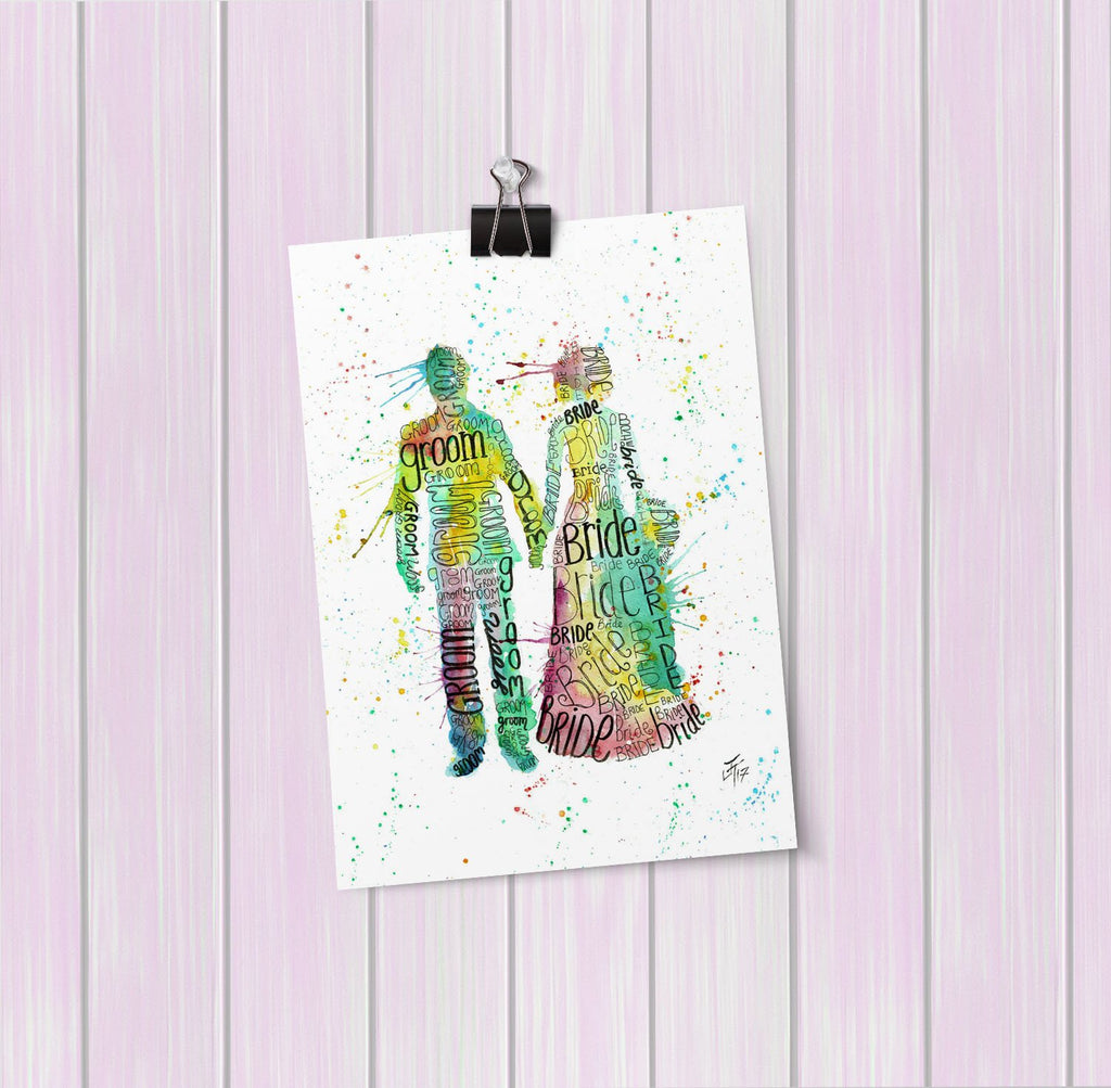 Bride & Groom Art Mini Print