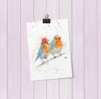 Mr & Mrs Robin Art Mini Print