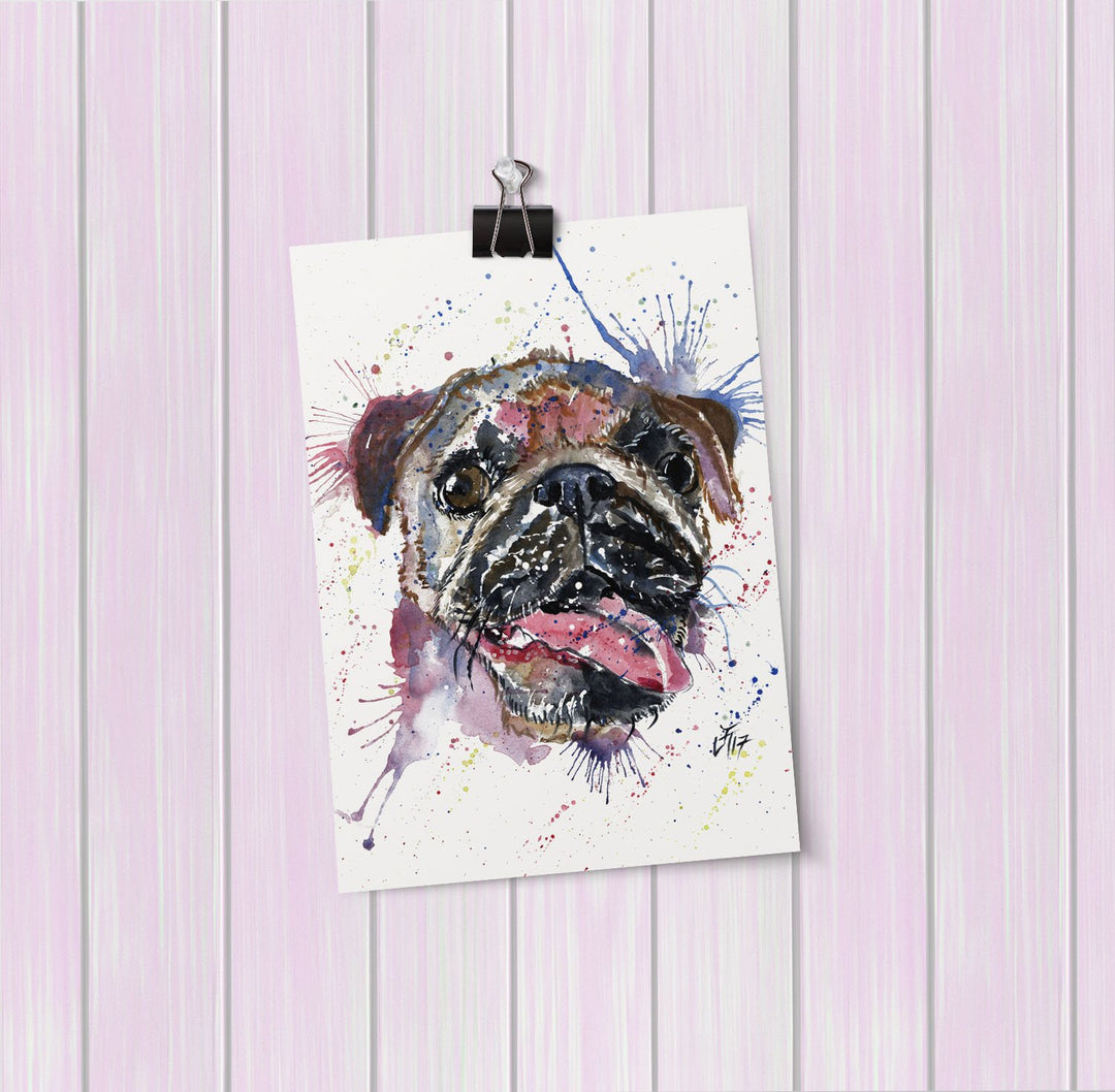 """Ronnie"" Pug Art Mini Print"