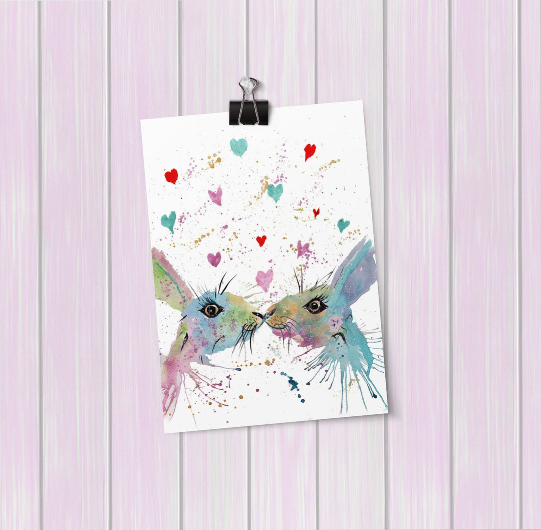 Bunnies in Love Art Mini Print