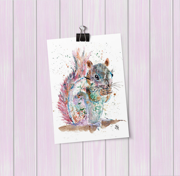 """Nige"" Squirrel Art Mini Print"