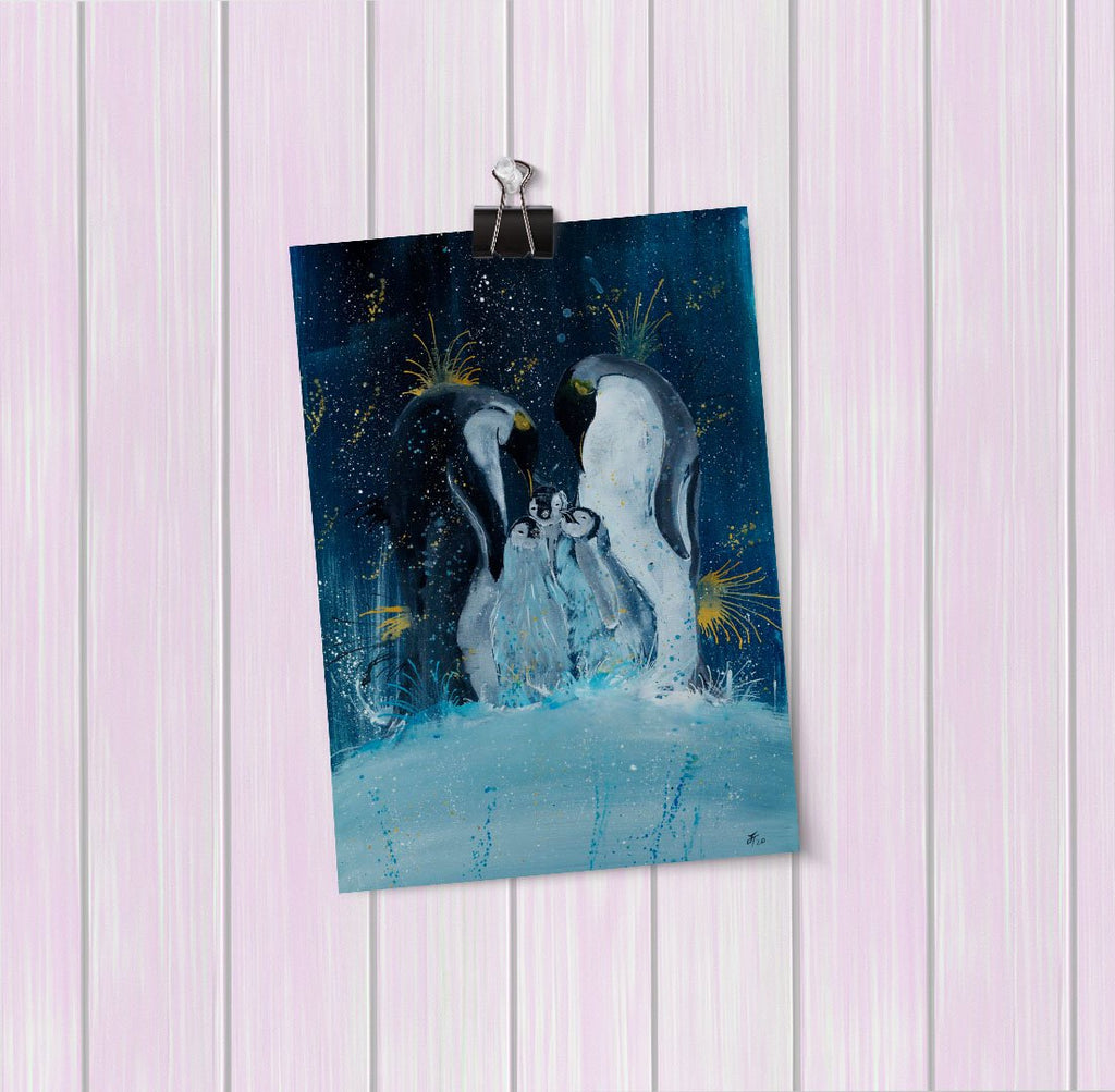 """Tranquil"" Penguins Art Mini Print"