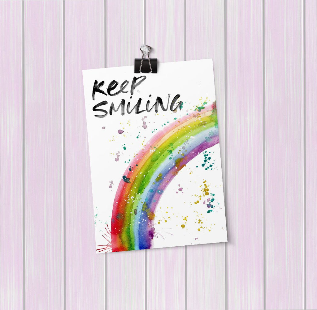 """Keep Smiling"" Rainbow Art Mini Print"