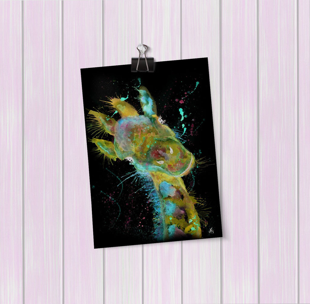 """Hattie"" Giraffe Enchanted Art Mini Print"