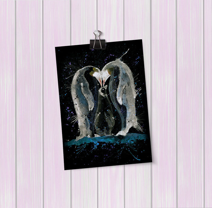 Family Penguins Enchanted Art Mini Print