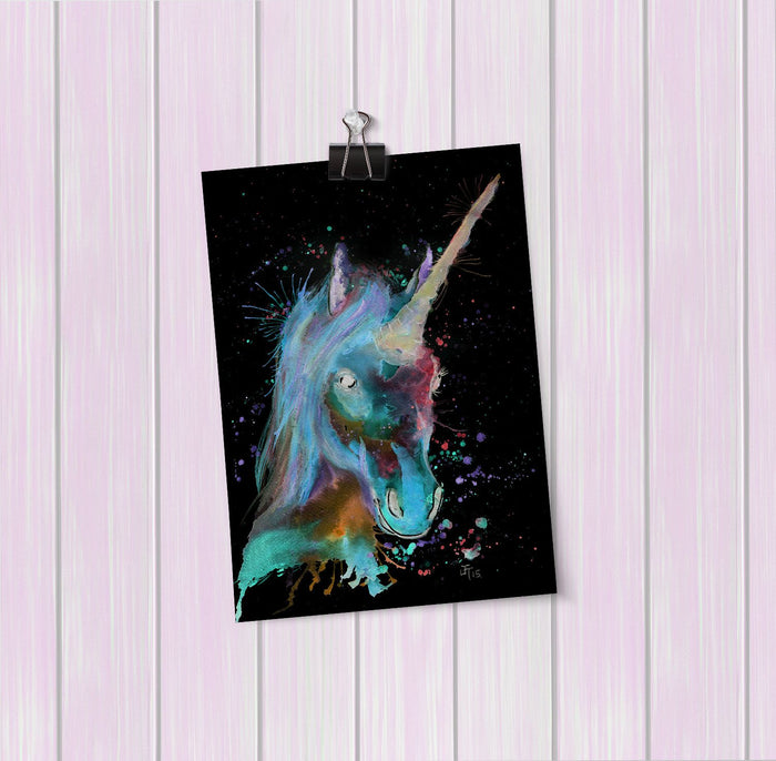 """Marge"" Unicorn Enchanted Art Mini Print"