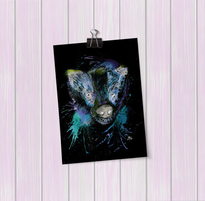 """Badge"" Badger Enchanted Art Mini Print"